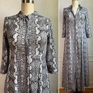 Zara Grey Snake Skin Print Maxi Dress